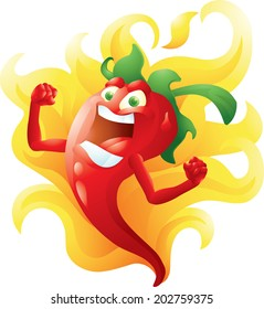 Red hot pepper on fire cartoon