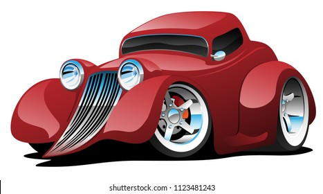 Red Hot Rod Restomod Coupe Vector Illustration