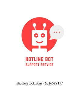 red hotline bot support service logo. concept of ai avatar chat bot icon robot for talking or fintech network. flat simple trend modern friendly helpline logotype design illustration isolated on white