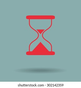 Red Hourglass time icon isolated vector