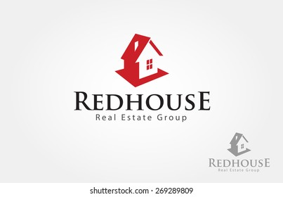 Red house logo design for real estate/property industry.