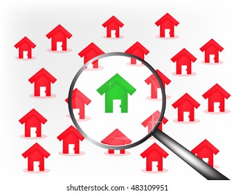 Red houses background with green house in centre unda loupe