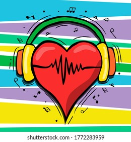Red human heart with headphones and music notes in hand drawn cartoon style. Colorful musical love concept.