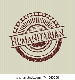 Red Humanitarian distress rubber seal with grunge texture