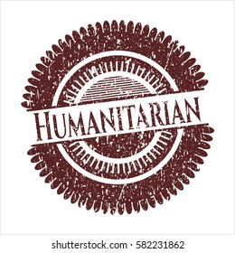 Red Humanitarian distressed rubber stamp with grunge texture