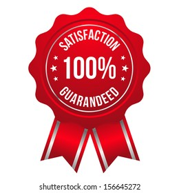 Red hundred percent satisfaction badge