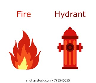 Red Hydrant and fire flame. Flat illustration