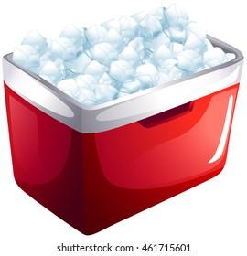 Red icebox full of ice illustration