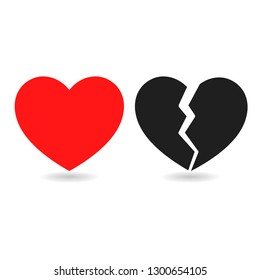 Red icon and black icon of broken heart on white background.