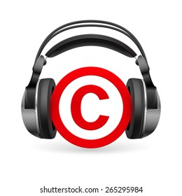 Red icon of copyright in black headphones