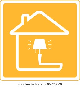 red icon with lamp and house silhouette