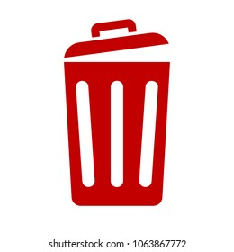 red Icon trash gerbage recycle wastebasket graphic design single icon vector