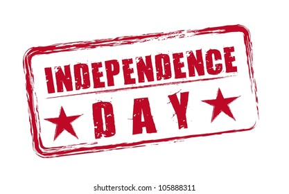 red independence day seal with stars isolated. vector