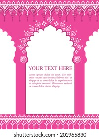 Red Indian architecture background with henna patterns and space for text