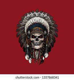 Red Indian Skull