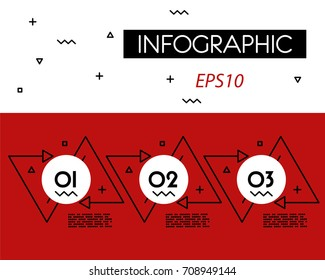 red infographicoutline double triangle, three steps