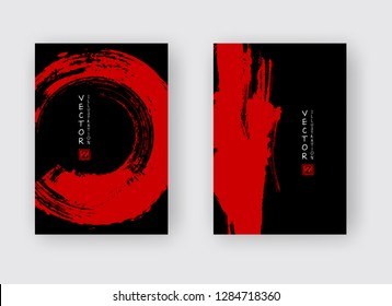 Red ink brush stroke on black background. Japanese style. Vector illustration of grunge abstract stains.