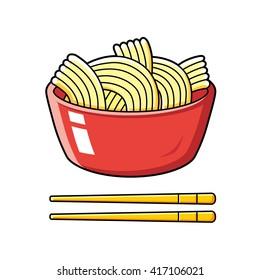 Red instant noodles bowl and chopsticks.