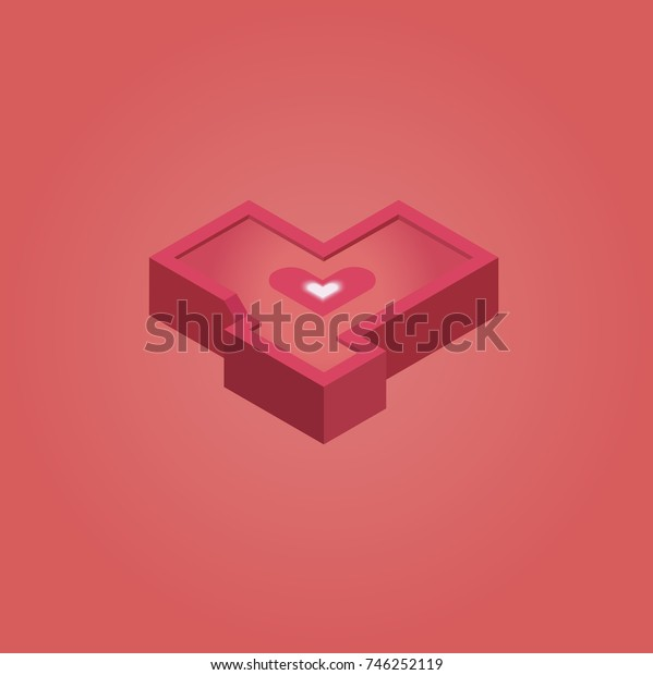 red isometric heart on red background  pixel art