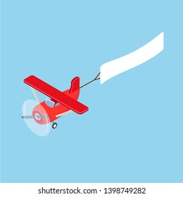 Red isometric plane vector flat template object. Aircraft Flying plane on blue sky banner. Isometric air transport. Vector illustration isolated on white background
