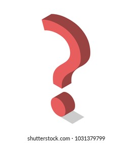 Red isometric question mark isolated on white. Problem, challenge, help and support concept. Flat design. EPS 8 vector illustration, no transparency, no gradients
