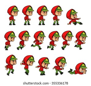 Red Jacket Green Cap Boy Game Sprites for side scrolling action adventure endless runner 2D mobile game.