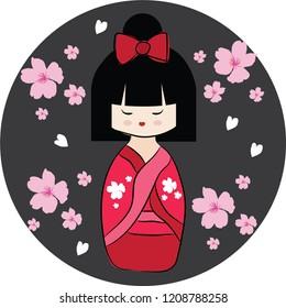 Red Japanese doll Kokeshi with pink sakura. Cartoon character on black circle background