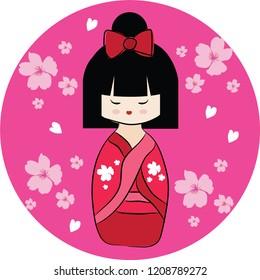 Red Japanese doll Kokeshi with pink sakura. Cartoon character on pink circle background