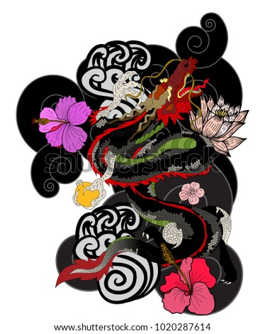Red Japanese Dragon For Wallpaper And BackgroundDragon TattooDragon Sticker Tattoo