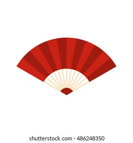 Red japanese fan icon. Flat illustration of japanese fan vector icon logo isolated on white background