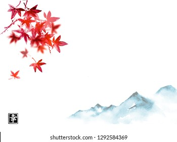 Red japanese maple leaves and far blue mountains. Traditional Japanese ink wash painting sumi-e.  Hieroglyph - happiness