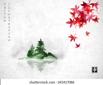 Red japanese maple leaves and island with green pine trees in fog. Traditional oriental ink painting sumi-e, u-sin, go-hua. Contains hieroglyph - happiness.