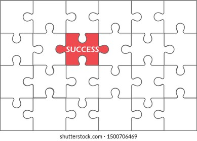 Red jigsaw puzzle in a white group background. Different thinking concepts. Searching for success in the investment business. Vector illustration in flat design.