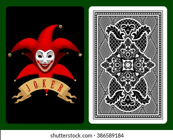 Red Joker playing card on black and backside background. Original design. Vector illustration