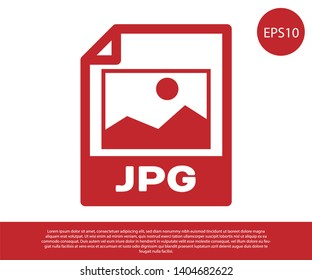 Red JPG file document icon. Download image button icon isolated on white background. JPG file symbol. Vector Illustration