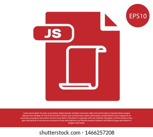 Red JS file document. Download js button icon isolated on white background. JS file symbol.  Vector Illustration