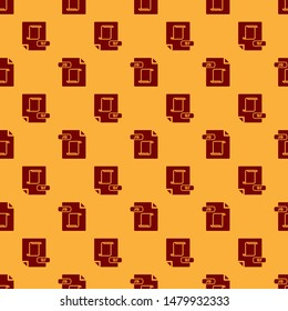 Red JS file document. Download js button icon isolated seamless pattern on brown background. JS file symbol.  Vector Illustration