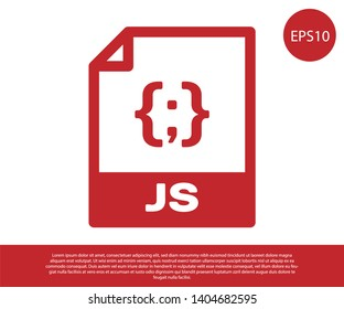 Red JS file document icon. Download js button icon isolated on white background. JS file symbol. Vector Illustration