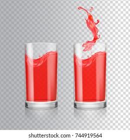 Red juice in glass. Grapefruit, cranberry, raspberry, cherry fresh juice