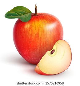 Red juicy apple with a green leaf and a slice. Summer fruits - still life. Realistic 3D vector illustration.