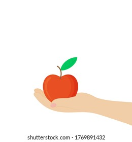 Red juicy apple in hand, isolated on white background. Concept fruit. Vector flat illustration.