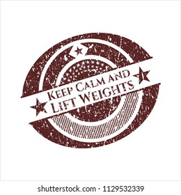 Red Keep Calm and Lift Weights rubber grunge texture stamp