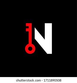 Red Key Vector Logo Letter N. N Safety and Security Letter Design Vector
