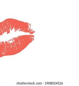 Red Kiss background Lips Stamp vector Illustration on white, stock