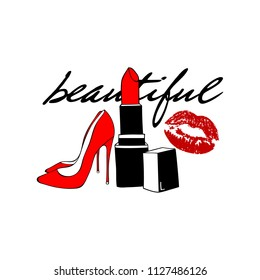 Red kiss lips, red lipstick, Women's shoe and lettering: beautiful. Makeup Fashion style. Vector hand drawn elements isolated. Modern cool sexy set of icons, patches badge