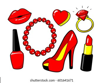 Red kiss lips, nail polish, lipstick, heart, ring, diamond. Women's shoe. Beads necklace. Make up. Fashion style. Vector cartoon elements isolated. Stickers cool sexy set of icons, patches badge