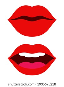 red kiss lips with teeth and tongue icon