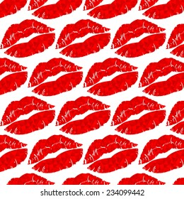 The red kiss mark overlay with triangle vector pattern on with background.(EPS10 art vector)