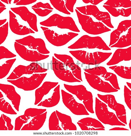 Red kiss smooch on white background seamless vector