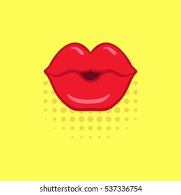 Red kissing lips on yellow pop-art background made in comics style